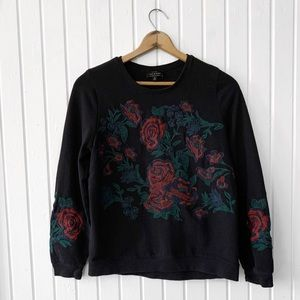 Lucky Brand Rose Floral Embroidered Sweatshirt